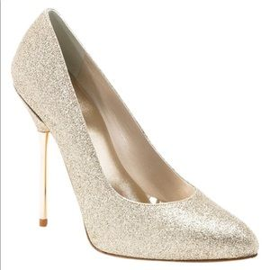 Stuart Weitzman Gold Daggereve Glitter Stiletto